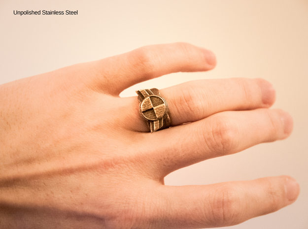 """Test Squadron Signet Ring. (small """"size 6"""" ring) in Polished Bronzed Silver Steel"""
