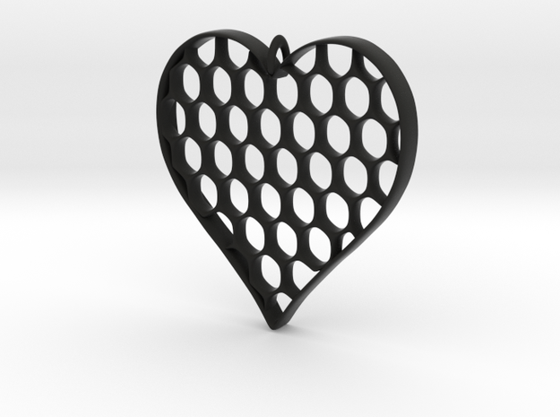 Honey Heart Pendant in Black Natural Versatile Plastic