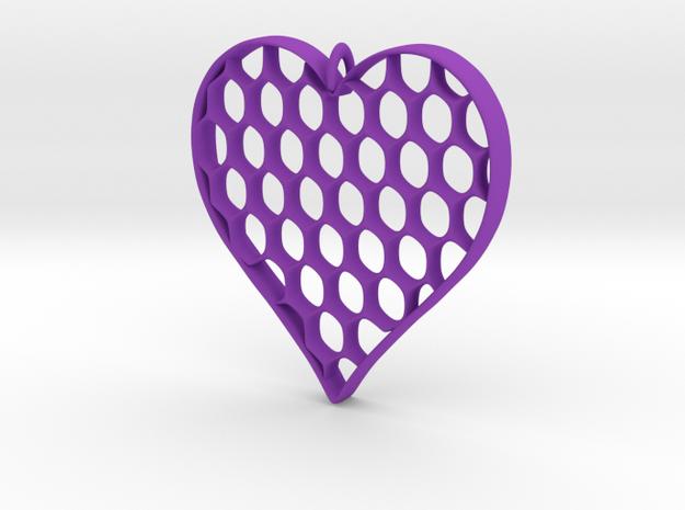 Honey Heart Pendant in Purple Processed Versatile Plastic