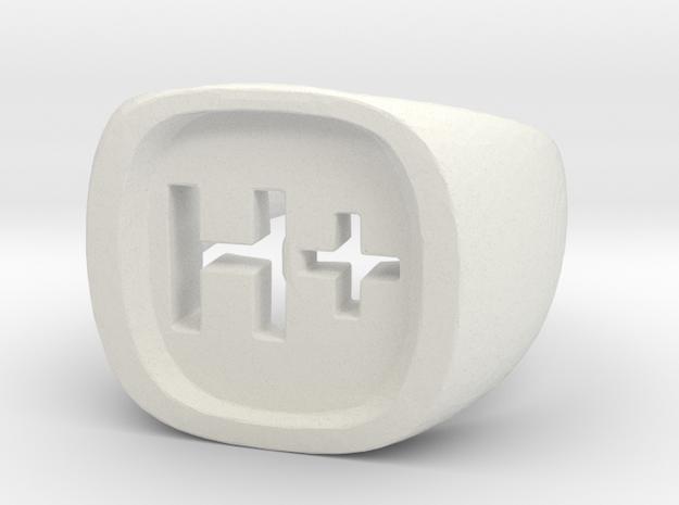 """Transhumanist """"H Plus"""" Ring in White Natural Versatile Plastic: 7.5 / 55.5"""