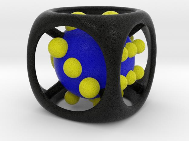 Dice No.1-c Blue M (balanced) (3.6cm/1.42in) in Full Color Sandstone