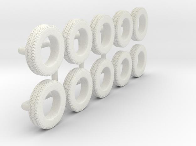 1/64 205/75R15 Trailer Tire in White Natural Versatile Plastic