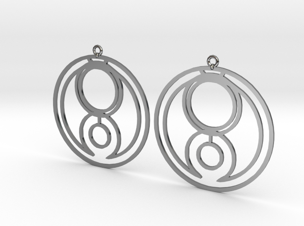 Genna - Earrings - Series 1 in Fine Detail Polished Silver