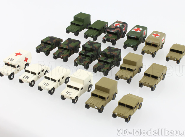 1/220 z-scale Humvee HMMWV Hummer 4 types in White Natural Versatile Plastic