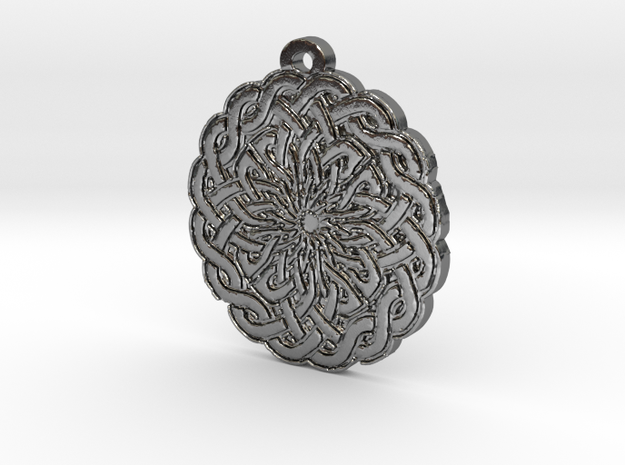 Celtic Knot Circle 2 Medallion Pendant in Polished Silver