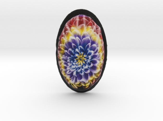 Rainbow Tie Dye Chrysanthemum Flower Cabochon Pend in Full Color Sandstone