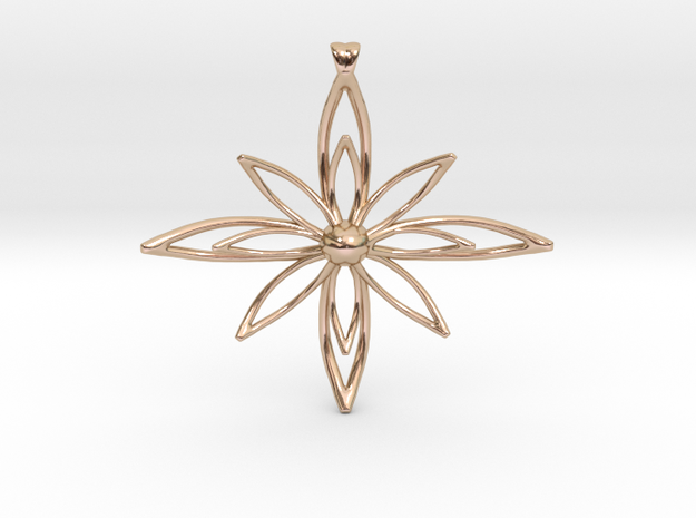 PETALIS Flower Petals design pendant in 14k Rose Gold Plated Brass