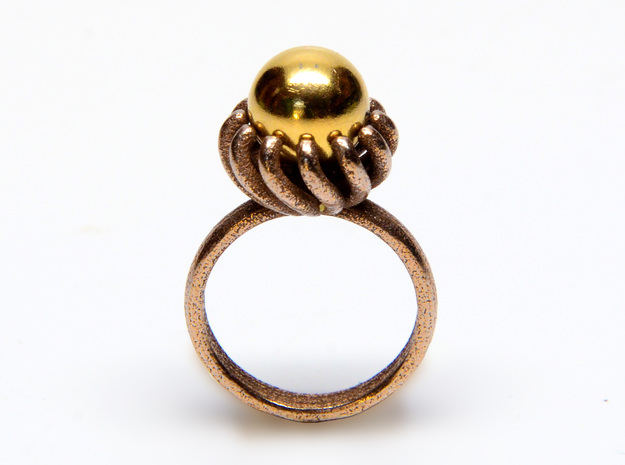 Magnetic Pearl Ring Size 8 in Polished Gold Steel