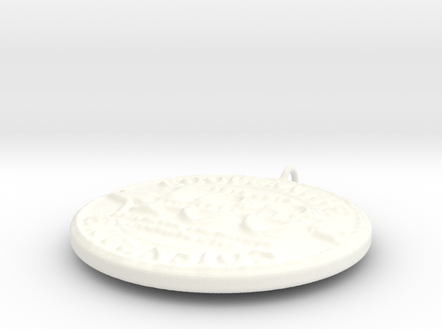 4H Medallion, Large in White Strong & Flexible Polished