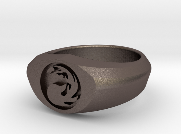 MTG Mountain Mana Ring (Size 7) in Polished Bronzed Silver Steel
