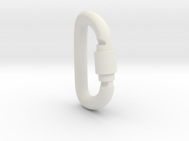 Carabiner Pendant (Large) in White Natural Versatile Plastic