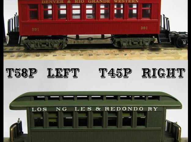"""T45p x8 N scale offset """"V&T"""" 5' truck for Overton in Smooth Fine Detail Plastic"""