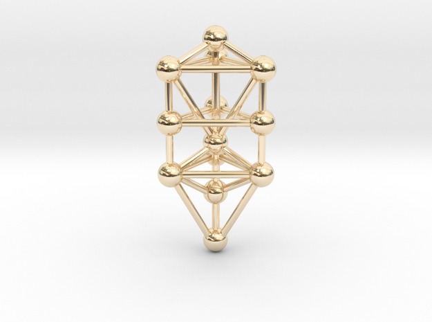 Small Triangular Tree of Life Pendant (no bail) in 14K Gold
