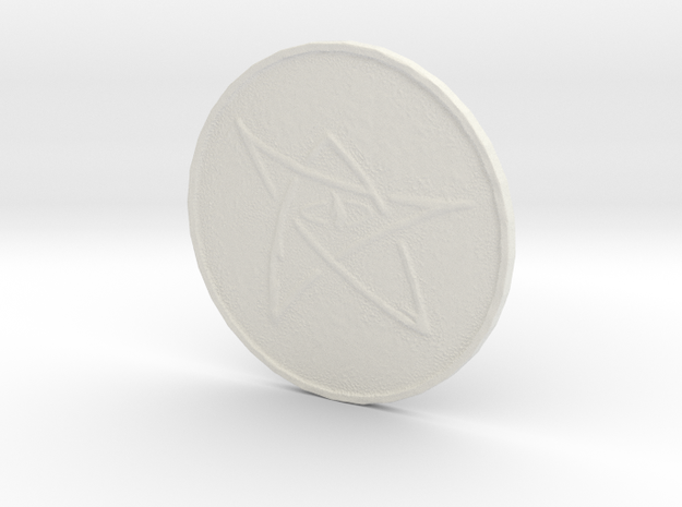 Elder Sign Coin in White Natural Versatile Plastic