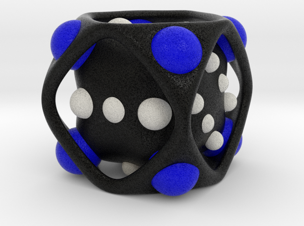 Dice No.2-c Blue S (balanced) (2.4cm/0.94in) in Full Color Sandstone