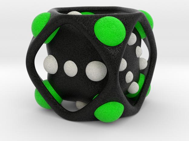 Dice No.2-c Green L (balanced) (5cm/1.97in) in Full Color Sandstone