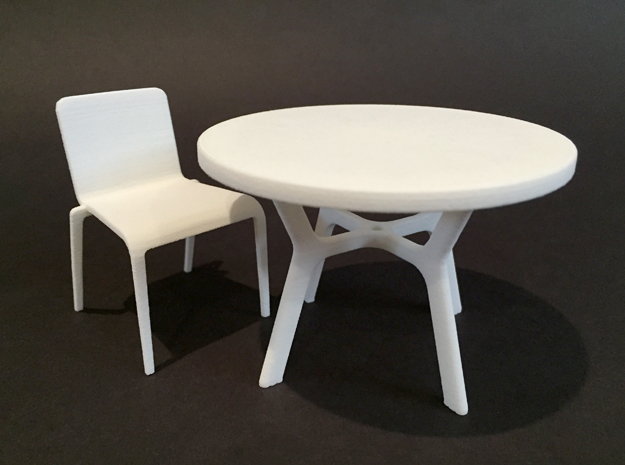 42in Dia Table 1:12 scale in White Natural Versatile Plastic