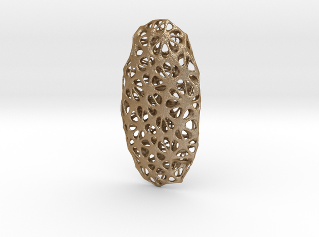 Voronoi Pendant in Matte Gold Steel