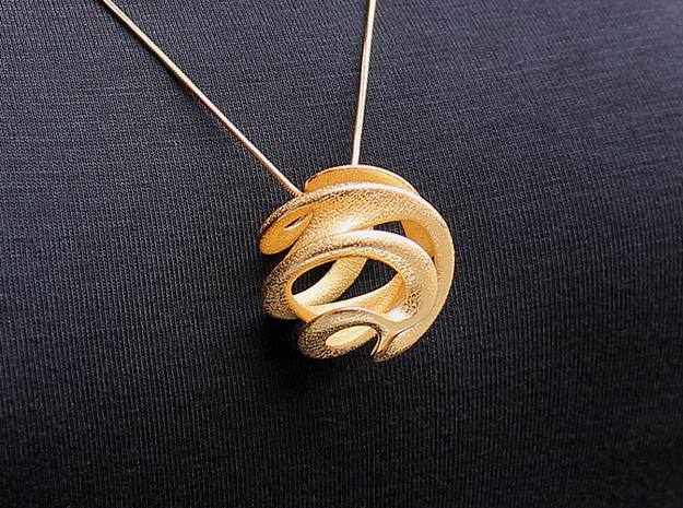 Universe Pendant (#1503) in Polished Gold Steel