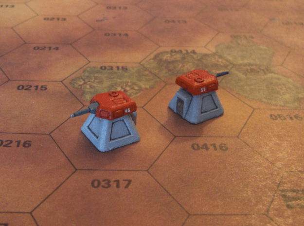 2 Gun Emplacements (1/285) in White Strong & Flexible Polished