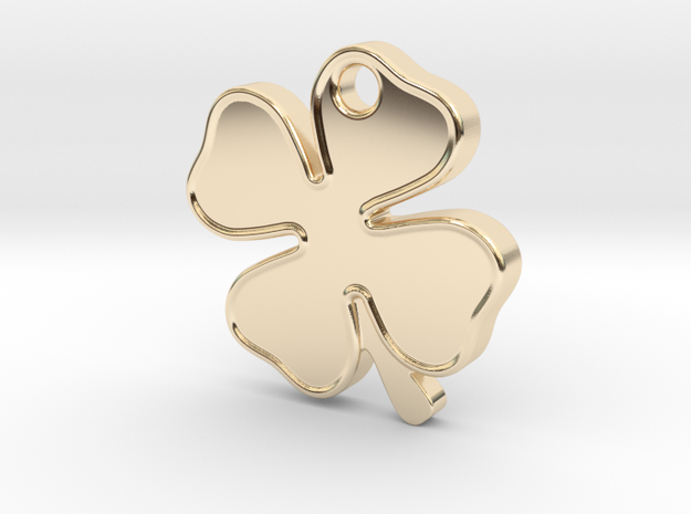 Four Leaf Clover, Lucky Charm in 14k Gold Plated Brass