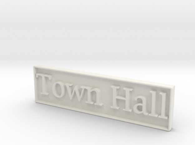 1:24 Town Hall Sign in White Natural Versatile Plastic