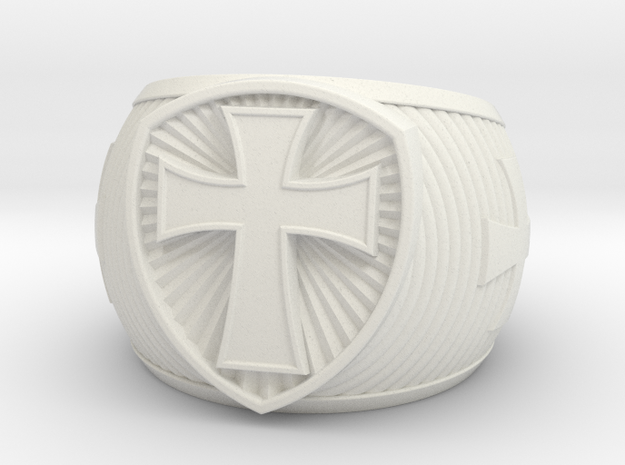 Cross Ring size 14 in White Natural Versatile Plastic