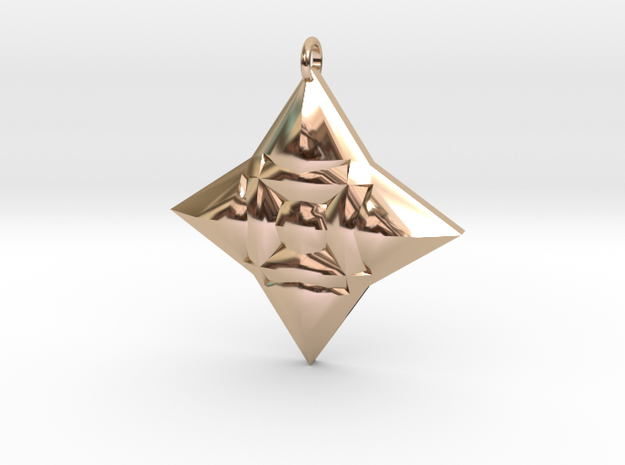 Festive Geo Star Pendant in 14k Rose Gold Plated Brass