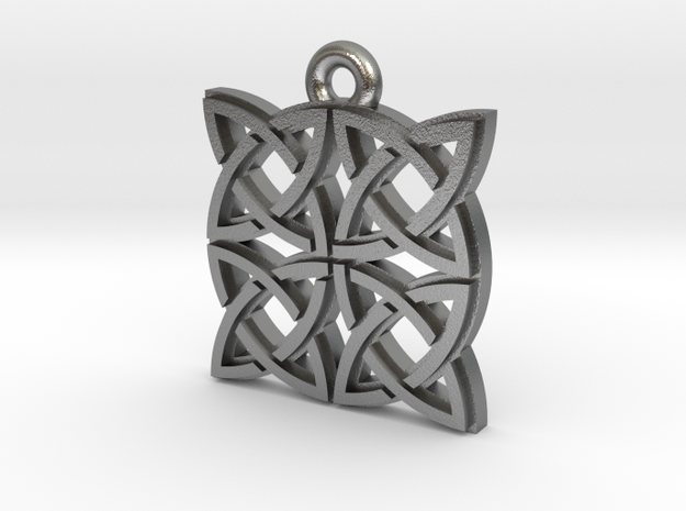 """Gothic Knot"" Pendant, Cast Metal in Natural Silver"