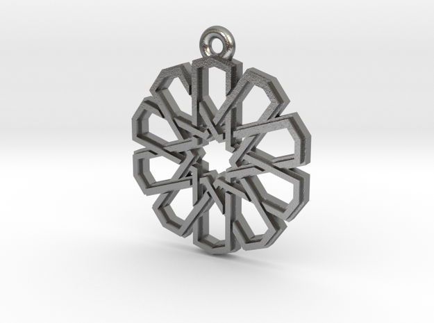 """Ten-Pointed Star"" Pendant, Cast Metal in Natural Silver"