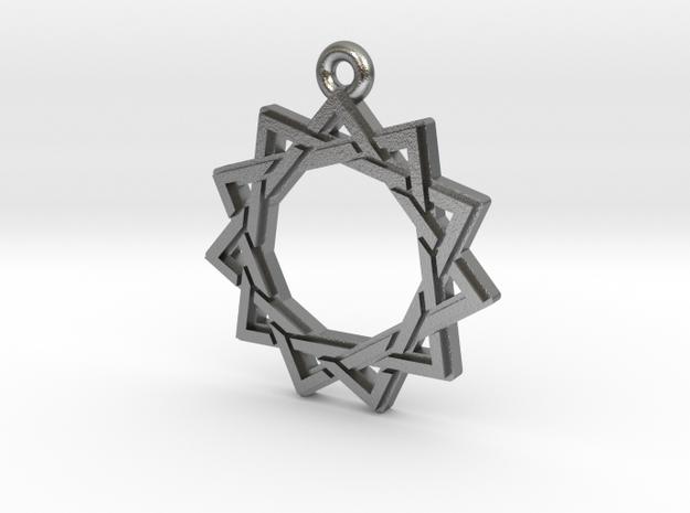"""Hendecagram 3.0"" Pendant, Cast Metal in Natural Silver"