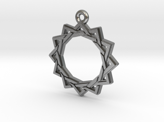 """Dodecagram 3.0"" Pendant, Cast Metal in Raw Silver"