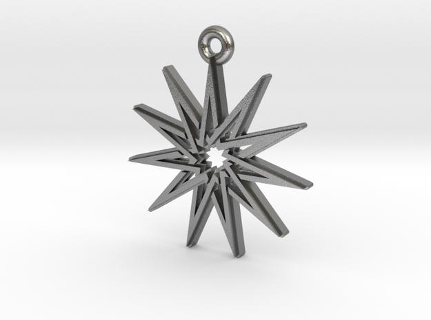 """Hendecagram 5.1"" Pendant, Cast Metal in Natural Silver"