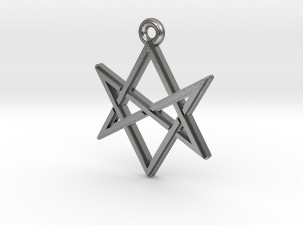 """Unicursal Hexagram"" Pendant, Cast Metal in Natural Silver"