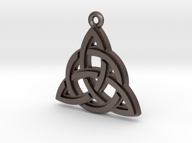 """Trinity Knot"" Pendant, Printed Metal in Stainless Steel"