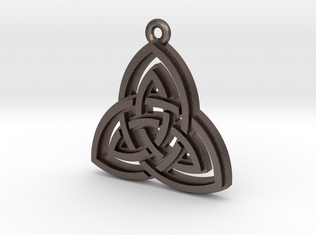 """Double Triquetra"" Pendant, Printed Metal in Polished Bronzed Silver Steel"