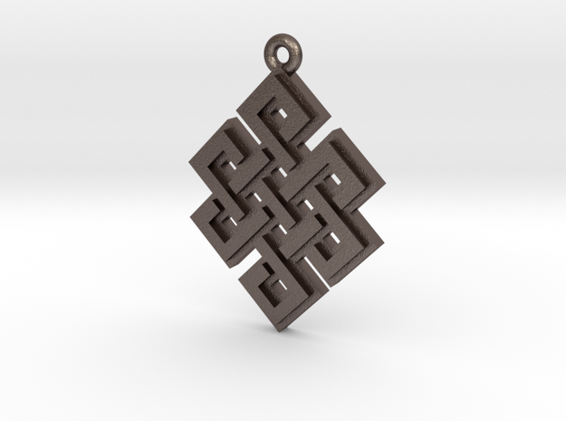"""Endless Knot"" Pendant, Printed Metal in Stainless Steel"
