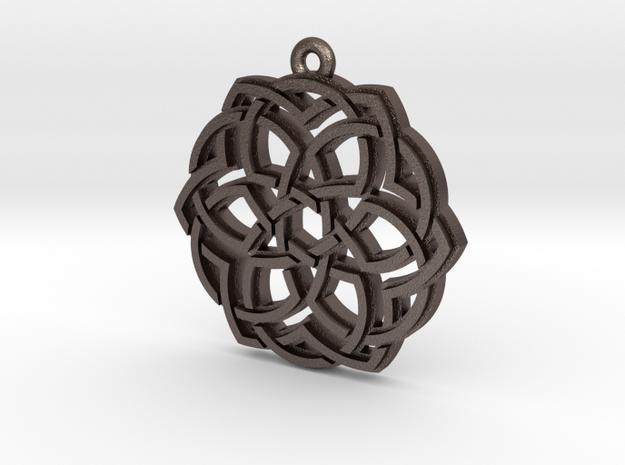"""Crown"" Pendant, Printed Metal in Polished Bronzed Silver Steel"