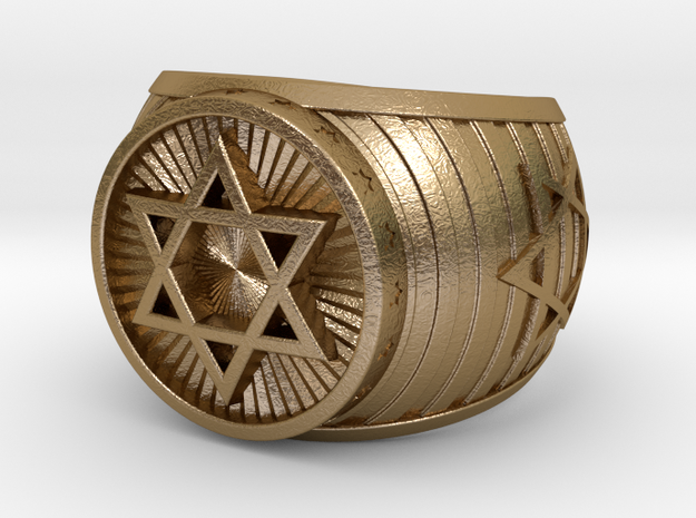 Jewish Ring in Polished Gold Steel