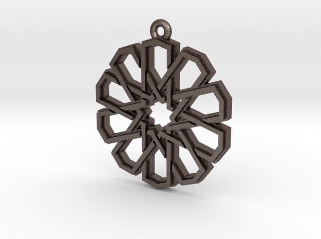 """""""Ten-Pointed Star"""" Pendant, Printed Metal in Polished Bronzed Silver Steel"""