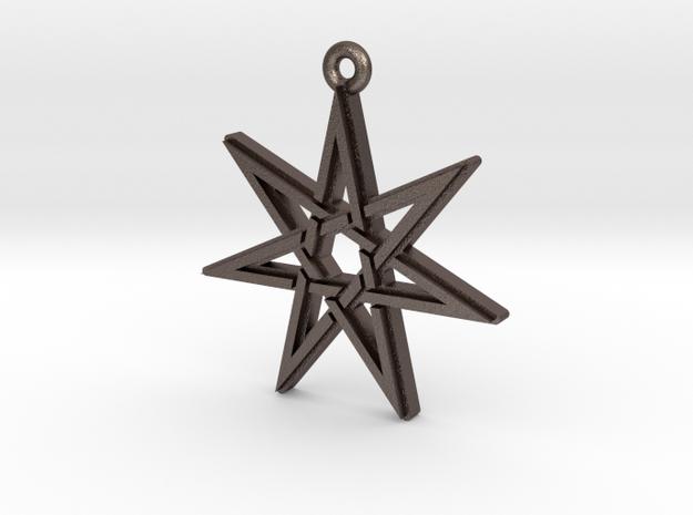"""""""Heptagram 3.0"""" Pendant, Printed Metal in Polished Bronzed Silver Steel"""