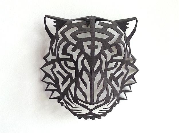 Modern Faux Taxidermy - Tiger Head (M) in Black Strong & Flexible