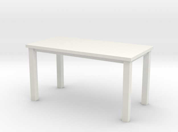 Miniature 1:48 Table 5 Foot in White Natural Versatile Plastic