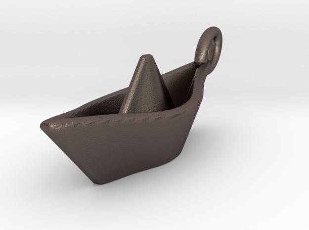 Mini Paperboat Keyring in Polished Bronzed Silver Steel