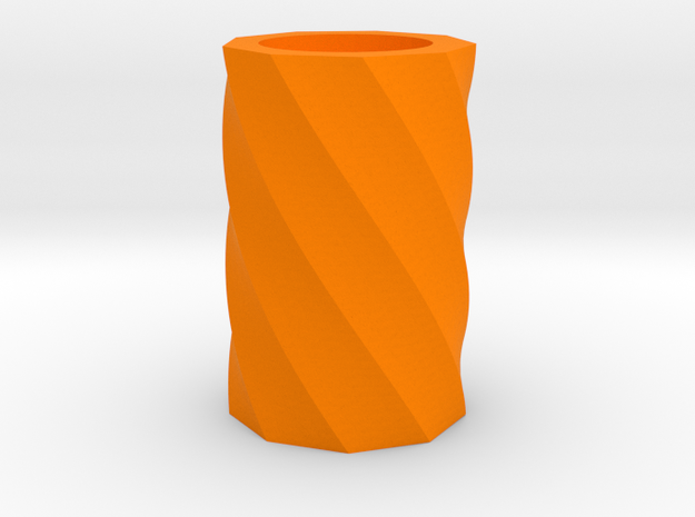 Twisted polygon vase in Orange Processed Versatile Plastic