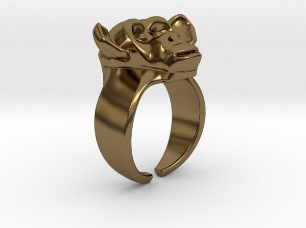 Chimpanzee Ring in Polished Bronze
