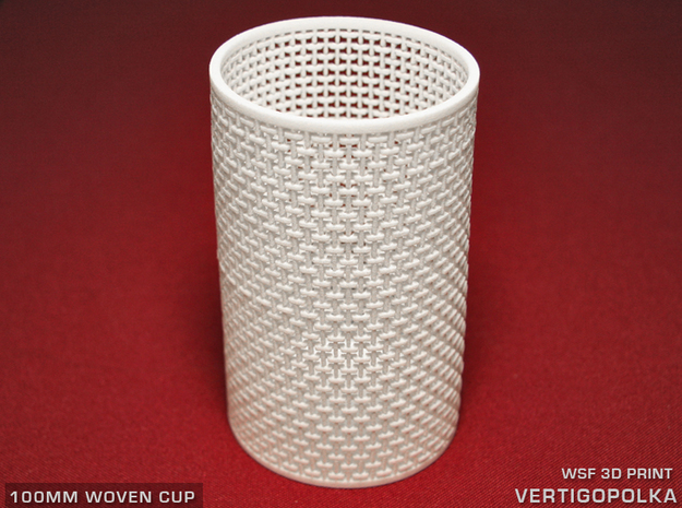 100mm Woven Cup 1 TEST in White Natural Versatile Plastic