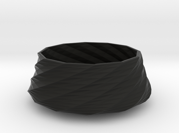 Twisted bowl in Black Natural Versatile Plastic