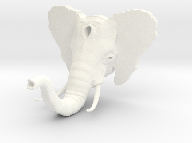Elephant Hook v2 (w/ Tusks) in White Processed Versatile Plastic
