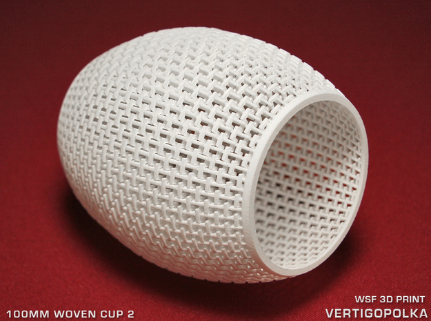 100mm Woven Cup 2 TEST in White Natural Versatile Plastic